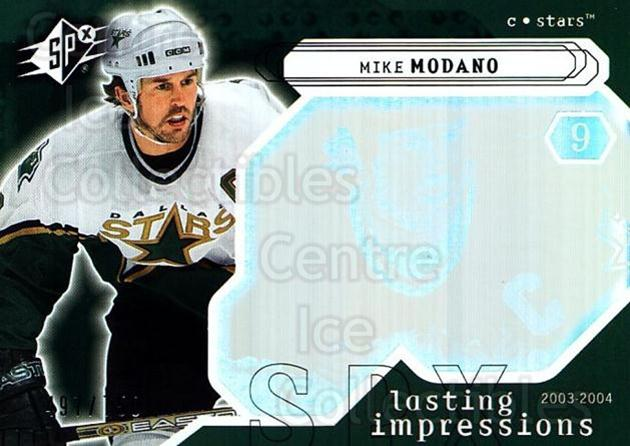 2003-04 SPx #119 Mike Modano<br/>2 In Stock - $3.00 each - <a href=https://centericecollectibles.foxycart.com/cart?name=2003-04%20SPx%20%23119%20Mike%20Modano...&quantity_max=2&price=$3.00&code=443394 class=foxycart> Buy it now! </a>