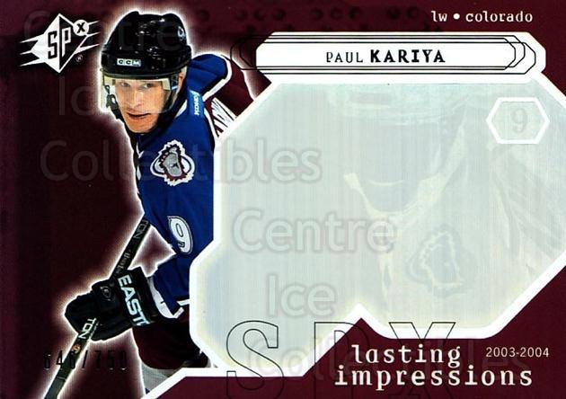 2003-04 SPx #124 Paul Kariya<br/>2 In Stock - $3.00 each - <a href=https://centericecollectibles.foxycart.com/cart?name=2003-04%20SPx%20%23124%20Paul%20Kariya...&quantity_max=2&price=$3.00&code=443399 class=foxycart> Buy it now! </a>