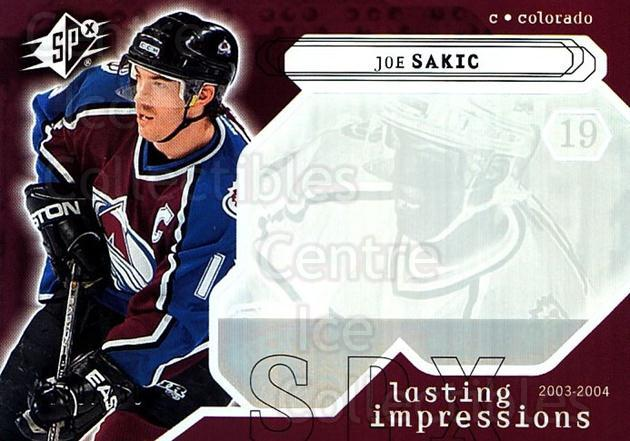 2003-04 SPx #126 Joe Sakic<br/>2 In Stock - $3.00 each - <a href=https://centericecollectibles.foxycart.com/cart?name=2003-04%20SPx%20%23126%20Joe%20Sakic...&quantity_max=2&price=$3.00&code=443401 class=foxycart> Buy it now! </a>