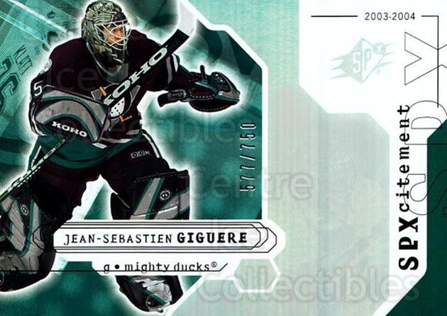 2003-04 SPx #131 Jean-Sebastien Giguere<br/>1 In Stock - $3.00 each - <a href=https://centericecollectibles.foxycart.com/cart?name=2003-04%20SPx%20%23131%20Jean-Sebastien%20...&quantity_max=1&price=$3.00&code=443406 class=foxycart> Buy it now! </a>