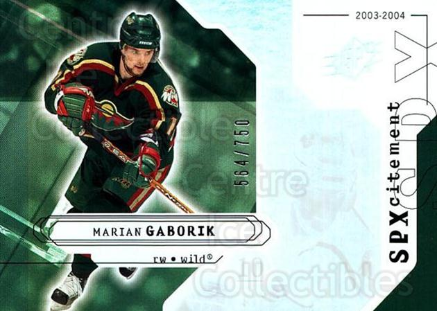 2003-04 SPx #132 Marian Gaborik<br/>2 In Stock - $3.00 each - <a href=https://centericecollectibles.foxycart.com/cart?name=2003-04%20SPx%20%23132%20Marian%20Gaborik...&quantity_max=2&price=$3.00&code=443407 class=foxycart> Buy it now! </a>