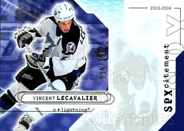 2003-04 SPx #136 Vincent Lecavalier<br/>2 In Stock - $3.00 each - <a href=https://centericecollectibles.foxycart.com/cart?name=2003-04%20SPx%20%23136%20Vincent%20Lecaval...&quantity_max=2&price=$3.00&code=443411 class=foxycart> Buy it now! </a>