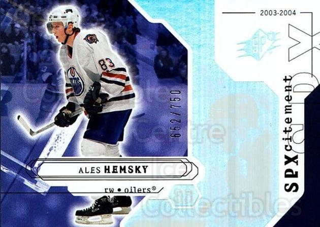 2003-04 SPx #151 Ales Hemsky<br/>2 In Stock - $3.00 each - <a href=https://centericecollectibles.foxycart.com/cart?name=2003-04%20SPx%20%23151%20Ales%20Hemsky...&quantity_max=2&price=$3.00&code=443426 class=foxycart> Buy it now! </a>