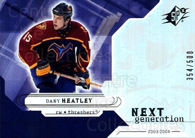 2003-04 SPx #156 Dany Heatley<br/>3 In Stock - $5.00 each - <a href=https://centericecollectibles.foxycart.com/cart?name=2003-04%20SPx%20%23156%20Dany%20Heatley...&quantity_max=3&price=$5.00&code=443431 class=foxycart> Buy it now! </a>