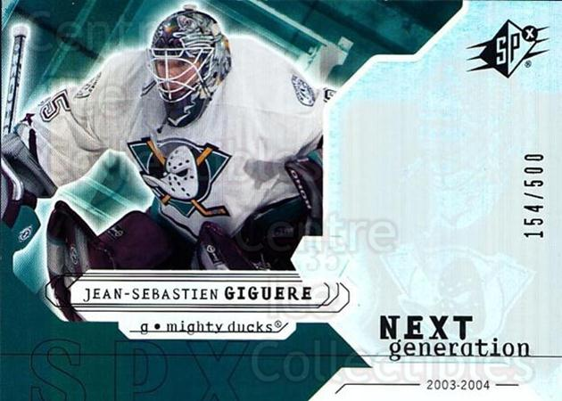 2003-04 SPx #158 Jean-Sebastien Giguere<br/>1 In Stock - $5.00 each - <a href=https://centericecollectibles.foxycart.com/cart?name=2003-04%20SPx%20%23158%20Jean-Sebastien%20...&quantity_max=1&price=$5.00&code=443433 class=foxycart> Buy it now! </a>