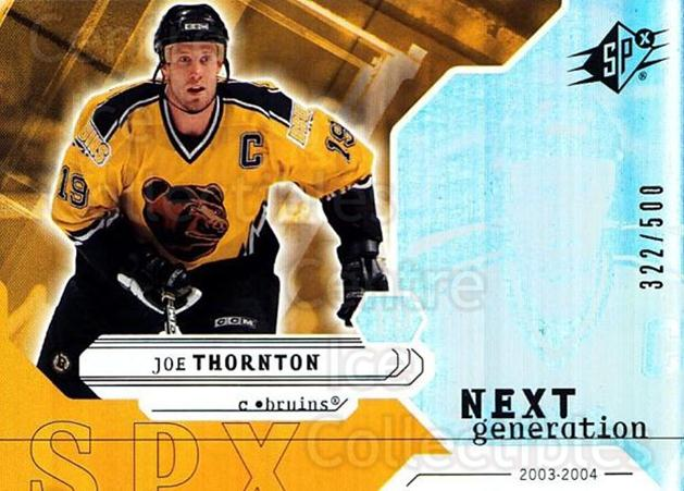 2003-04 SPx #159 Joe Thornton<br/>3 In Stock - $5.00 each - <a href=https://centericecollectibles.foxycart.com/cart?name=2003-04%20SPx%20%23159%20Joe%20Thornton...&quantity_max=3&price=$5.00&code=443434 class=foxycart> Buy it now! </a>