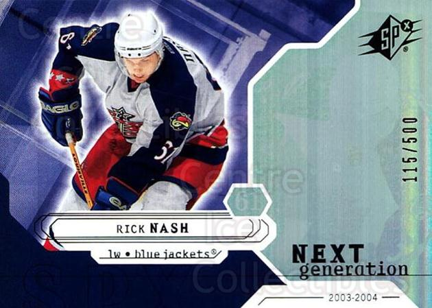 2003-04 SPx #161 Rick Nash<br/>3 In Stock - $5.00 each - <a href=https://centericecollectibles.foxycart.com/cart?name=2003-04%20SPx%20%23161%20Rick%20Nash...&quantity_max=3&price=$5.00&code=443436 class=foxycart> Buy it now! </a>