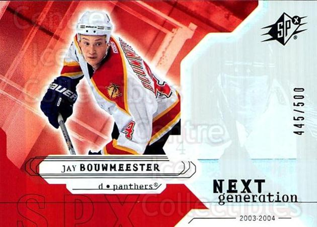 2003-04 SPx #162 Jay Bouwmeester<br/>3 In Stock - $5.00 each - <a href=https://centericecollectibles.foxycart.com/cart?name=2003-04%20SPx%20%23162%20Jay%20Bouwmeester...&quantity_max=3&price=$5.00&code=443437 class=foxycart> Buy it now! </a>