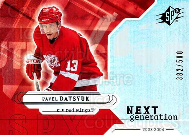 2003-04 SPx #164 Pavel Datsyuk<br/>2 In Stock - $5.00 each - <a href=https://centericecollectibles.foxycart.com/cart?name=2003-04%20SPx%20%23164%20Pavel%20Datsyuk...&quantity_max=2&price=$5.00&code=443439 class=foxycart> Buy it now! </a>