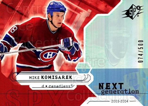 2003-04 SPx #165 Mike Komisarek<br/>3 In Stock - $5.00 each - <a href=https://centericecollectibles.foxycart.com/cart?name=2003-04%20SPx%20%23165%20Mike%20Komisarek...&quantity_max=3&price=$5.00&code=443440 class=foxycart> Buy it now! </a>
