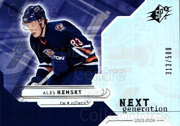 2003-04 SPx #166 Ales Hemsky<br/>3 In Stock - $5.00 each - <a href=https://centericecollectibles.foxycart.com/cart?name=2003-04%20SPx%20%23166%20Ales%20Hemsky...&quantity_max=3&price=$5.00&code=443441 class=foxycart> Buy it now! </a>