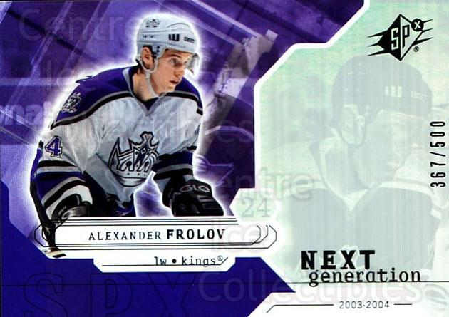 2003-04 SPx #168 Alexander Frolov<br/>3 In Stock - $5.00 each - <a href=https://centericecollectibles.foxycart.com/cart?name=2003-04%20SPx%20%23168%20Alexander%20Frolo...&quantity_max=3&price=$5.00&code=443443 class=foxycart> Buy it now! </a>