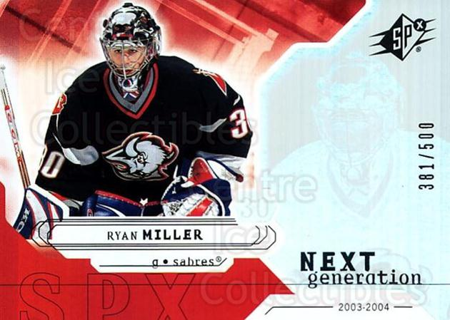 2003-04 SPx #172 Ryan Miller<br/>1 In Stock - $5.00 each - <a href=https://centericecollectibles.foxycart.com/cart?name=2003-04%20SPx%20%23172%20Ryan%20Miller...&quantity_max=1&price=$5.00&code=443447 class=foxycart> Buy it now! </a>