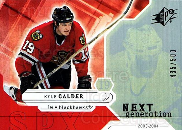 2003-04 SPx #174 Kyle Calder<br/>3 In Stock - $5.00 each - <a href=https://centericecollectibles.foxycart.com/cart?name=2003-04%20SPx%20%23174%20Kyle%20Calder...&quantity_max=3&price=$5.00&code=443449 class=foxycart> Buy it now! </a>