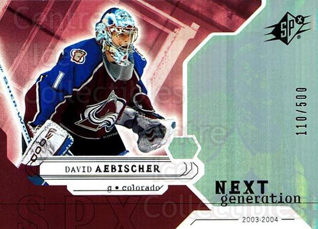 2003-04 SPx #175 David Aebischer<br/>1 In Stock - $5.00 each - <a href=https://centericecollectibles.foxycart.com/cart?name=2003-04%20SPx%20%23175%20David%20Aebischer...&quantity_max=1&price=$5.00&code=443450 class=foxycart> Buy it now! </a>