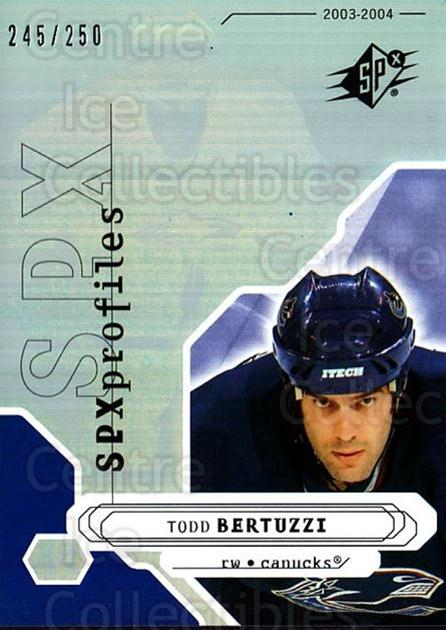 2003-04 SPx #187 Todd Bertuzzi<br/>1 In Stock - $10.00 each - <a href=https://centericecollectibles.foxycart.com/cart?name=2003-04%20SPx%20%23187%20Todd%20Bertuzzi...&quantity_max=1&price=$10.00&code=443462 class=foxycart> Buy it now! </a>