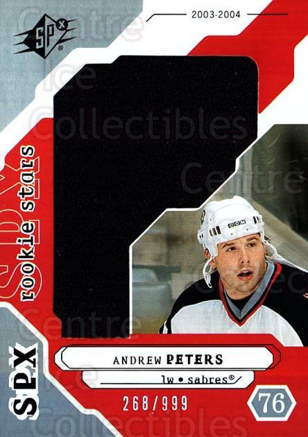 2003-04 SPx #204 Andrew Peters<br/>1 In Stock - $5.00 each - <a href=https://centericecollectibles.foxycart.com/cart?name=2003-04%20SPx%20%23204%20Andrew%20Peters...&quantity_max=1&price=$5.00&code=443479 class=foxycart> Buy it now! </a>