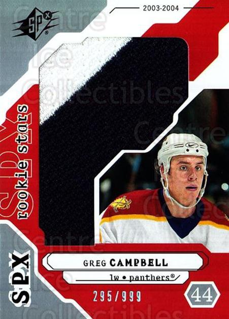 2003-04 SPx #205 Greg Campbell<br/>3 In Stock - $5.00 each - <a href=https://centericecollectibles.foxycart.com/cart?name=2003-04%20SPx%20%23205%20Greg%20Campbell...&quantity_max=3&price=$5.00&code=443480 class=foxycart> Buy it now! </a>
