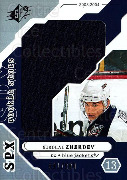 2003-04 SPx #236 Nikolai Zherdev<br/>2 In Stock - $5.00 each - <a href=https://centericecollectibles.foxycart.com/cart?name=2003-04%20SPx%20%23236%20Nikolai%20Zherdev...&quantity_max=2&price=$5.00&code=443511 class=foxycart> Buy it now! </a>