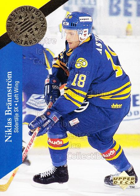 1995-96 Swedish Upper Deck 1st Division Stars #7 Niklas Brannstrom<br/>8 In Stock - $2.00 each - <a href=https://centericecollectibles.foxycart.com/cart?name=1995-96%20Swedish%20Upper%20Deck%201st%20Division%20Stars%20%237%20Niklas%20Brannstr...&quantity_max=8&price=$2.00&code=44355 class=foxycart> Buy it now! </a>