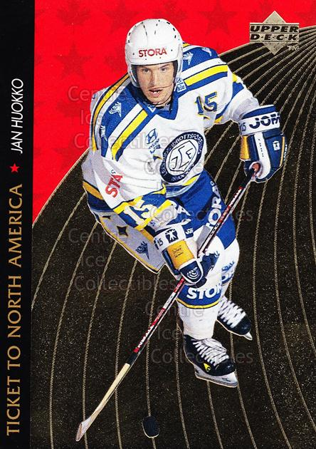 1995-96 Swedish Upper Deck Ticket to North America #14 Jan Huokko<br/>4 In Stock - $2.00 each - <a href=https://centericecollectibles.foxycart.com/cart?name=1995-96%20Swedish%20Upper%20Deck%20Ticket%20to%20North%20America%20%2314%20Jan%20Huokko...&quantity_max=4&price=$2.00&code=44358 class=foxycart> Buy it now! </a>