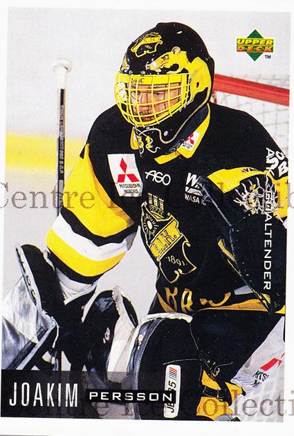 1995-96 Swedish Upper Deck #1 Joakim Persson<br/>10 In Stock - $2.00 each - <a href=https://centericecollectibles.foxycart.com/cart?name=1995-96%20Swedish%20Upper%20Deck%20%231%20Joakim%20Persson...&quantity_max=10&price=$2.00&code=44362 class=foxycart> Buy it now! </a>