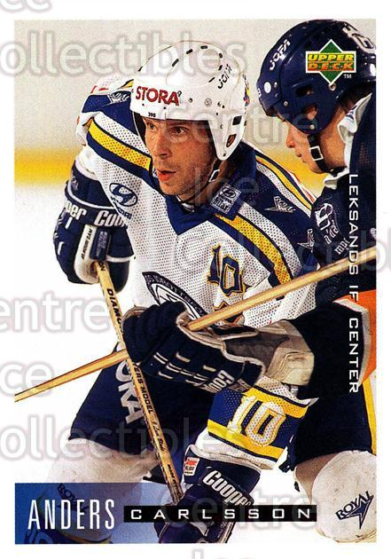 1995-96 Swedish Upper Deck #102 Anders Carlsson<br/>6 In Stock - $2.00 each - <a href=https://centericecollectibles.foxycart.com/cart?name=1995-96%20Swedish%20Upper%20Deck%20%23102%20Anders%20Carlsson...&quantity_max=6&price=$2.00&code=44366 class=foxycart> Buy it now! </a>