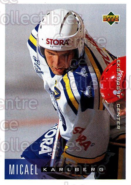 1995-96 Swedish Upper Deck #104 Mikael Karlberg<br/>7 In Stock - $2.00 each - <a href=https://centericecollectibles.foxycart.com/cart?name=1995-96%20Swedish%20Upper%20Deck%20%23104%20Mikael%20Karlberg...&quantity_max=7&price=$2.00&code=44368 class=foxycart> Buy it now! </a>