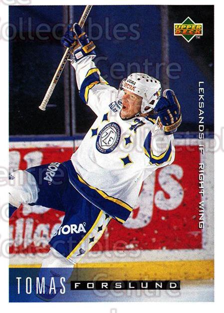 1995-96 Swedish Upper Deck #112 Tomas Forslund<br/>10 In Stock - $2.00 each - <a href=https://centericecollectibles.foxycart.com/cart?name=1995-96%20Swedish%20Upper%20Deck%20%23112%20Tomas%20Forslund...&price=$2.00&code=44375 class=foxycart> Buy it now! </a>