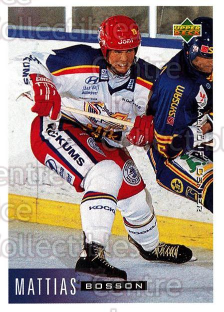 1995-96 Swedish Upper Deck #142 Mathias Bosson<br/>10 In Stock - $2.00 each - <a href=https://centericecollectibles.foxycart.com/cart?name=1995-96%20Swedish%20Upper%20Deck%20%23142%20Mathias%20Bosson...&quantity_max=10&price=$2.00&code=44407 class=foxycart> Buy it now! </a>