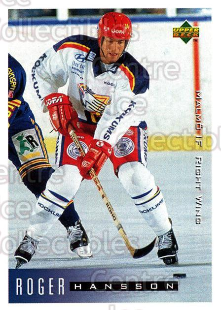 1995-96 Swedish Upper Deck #144 Roger Hansson<br/>9 In Stock - $2.00 each - <a href=https://centericecollectibles.foxycart.com/cart?name=1995-96%20Swedish%20Upper%20Deck%20%23144%20Roger%20Hansson...&quantity_max=9&price=$2.00&code=44409 class=foxycart> Buy it now! </a>