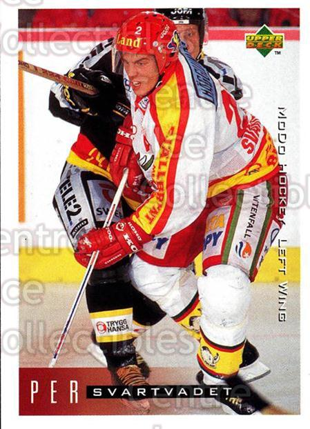 1995-96 Swedish Upper Deck #166 Per Svartvadet<br/>9 In Stock - $2.00 each - <a href=https://centericecollectibles.foxycart.com/cart?name=1995-96%20Swedish%20Upper%20Deck%20%23166%20Per%20Svartvadet...&quantity_max=9&price=$2.00&code=44433 class=foxycart> Buy it now! </a>