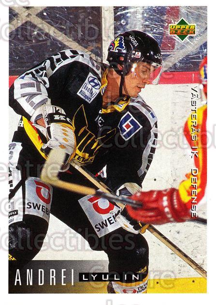 1995-96 Swedish Upper Deck #189 Andrei Lyulin<br/>14 In Stock - $2.00 each - <a href=https://centericecollectibles.foxycart.com/cart?name=1995-96%20Swedish%20Upper%20Deck%20%23189%20Andrei%20Lyulin...&quantity_max=14&price=$2.00&code=44458 class=foxycart> Buy it now! </a>