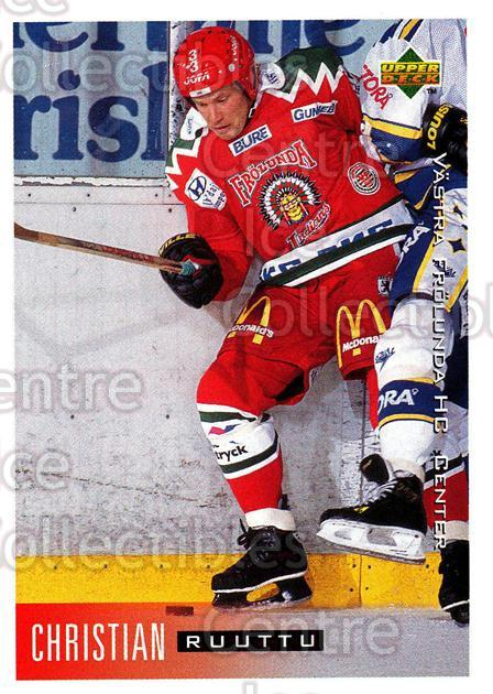 1995-96 Swedish Upper Deck #210 Christian Ruuttu<br/>9 In Stock - $2.00 each - <a href=https://centericecollectibles.foxycart.com/cart?name=1995-96%20Swedish%20Upper%20Deck%20%23210%20Christian%20Ruutt...&quantity_max=9&price=$2.00&code=44482 class=foxycart> Buy it now! </a>
