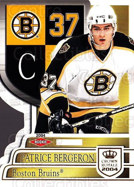 2003-04 Crown Royale #103 Patrice Bergeron<br/>1 In Stock - $20.00 each - <a href=https://centericecollectibles.foxycart.com/cart?name=2003-04%20Crown%20Royale%20%23103%20Patrice%20Bergero...&quantity_max=1&price=$20.00&code=444854 class=foxycart> Buy it now! </a>