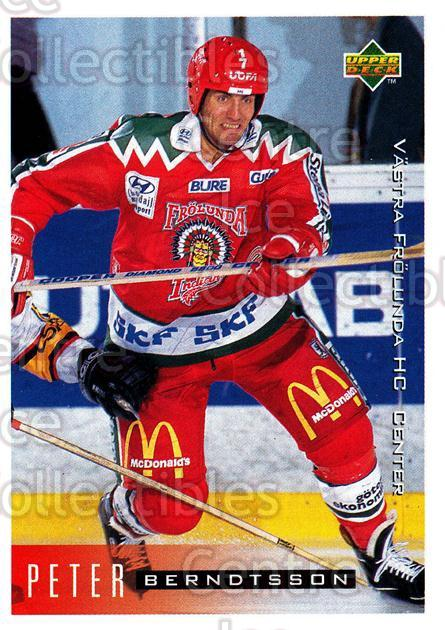 1995-96 Swedish Upper Deck #213 Peter Berndtsson<br/>12 In Stock - $2.00 each - <a href=https://centericecollectibles.foxycart.com/cart?name=1995-96%20Swedish%20Upper%20Deck%20%23213%20Peter%20Berndtsso...&quantity_max=12&price=$2.00&code=44485 class=foxycart> Buy it now! </a>