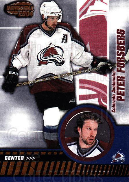 2003-04 Invincible #21 Peter Forsberg<br/>1 In Stock - $2.00 each - <a href=https://centericecollectibles.foxycart.com/cart?name=2003-04%20Invincible%20%2321%20Peter%20Forsberg...&quantity_max=1&price=$2.00&code=444949 class=foxycart> Buy it now! </a>