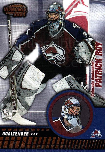 2003-04 Invincible #24 Patrick Roy<br/>1 In Stock - $5.00 each - <a href=https://centericecollectibles.foxycart.com/cart?name=2003-04%20Invincible%20%2324%20Patrick%20Roy...&quantity_max=1&price=$5.00&code=444950 class=foxycart> Buy it now! </a>