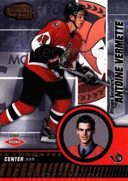 2003-04 Invincible #119 Antoine Vermette<br/>2 In Stock - $3.00 each - <a href=https://centericecollectibles.foxycart.com/cart?name=2003-04%20Invincible%20%23119%20Antoine%20Vermett...&quantity_max=2&price=$3.00&code=444994 class=foxycart> Buy it now! </a>