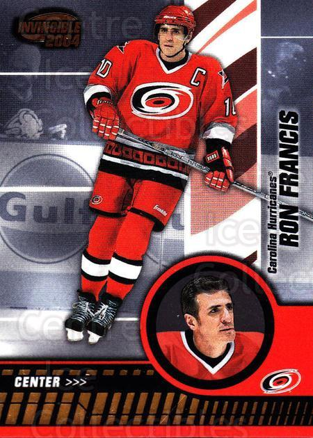 2003-04 Invincible #15 Ron Francis<br/>4 In Stock - $1.00 each - <a href=https://centericecollectibles.foxycart.com/cart?name=2003-04%20Invincible%20%2315%20Ron%20Francis...&quantity_max=4&price=$1.00&code=445000 class=foxycart> Buy it now! </a>
