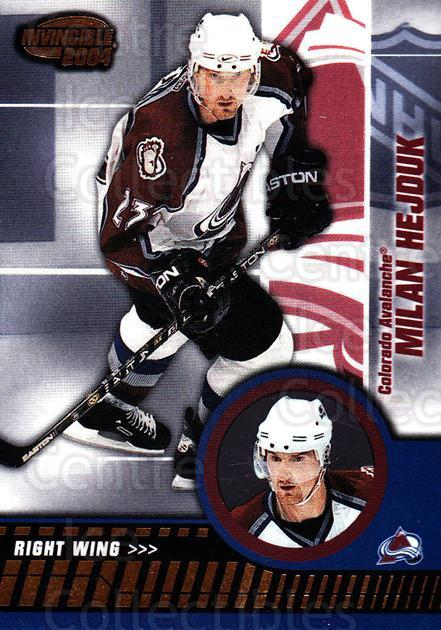 2003-04 Invincible #22 Milan Hejduk<br/>7 In Stock - $1.00 each - <a href=https://centericecollectibles.foxycart.com/cart?name=2003-04%20Invincible%20%2322%20Milan%20Hejduk...&quantity_max=7&price=$1.00&code=445006 class=foxycart> Buy it now! </a>