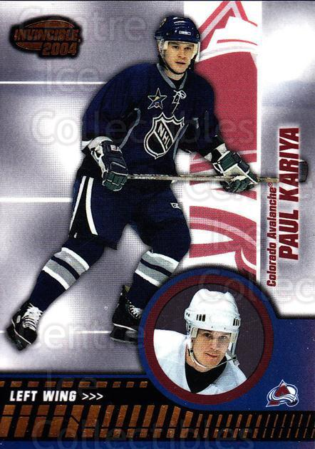 2003-04 Invincible #23 Paul Kariya<br/>8 In Stock - $1.00 each - <a href=https://centericecollectibles.foxycart.com/cart?name=2003-04%20Invincible%20%2323%20Paul%20Kariya...&quantity_max=8&price=$1.00&code=445007 class=foxycart> Buy it now! </a>