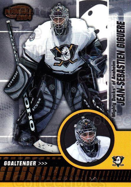 2003-04 Invincible #3 Jean-Sebastien Giguere<br/>4 In Stock - $1.00 each - <a href=https://centericecollectibles.foxycart.com/cart?name=2003-04%20Invincible%20%233%20Jean-Sebastien%20...&quantity_max=4&price=$1.00&code=445009 class=foxycart> Buy it now! </a>