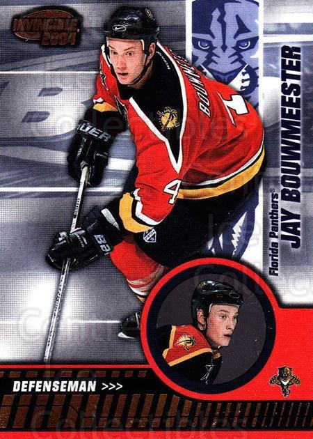 2003-04 Invincible #41 Jay Bouwmeester<br/>6 In Stock - $1.00 each - <a href=https://centericecollectibles.foxycart.com/cart?name=2003-04%20Invincible%20%2341%20Jay%20Bouwmeester...&quantity_max=6&price=$1.00&code=445015 class=foxycart> Buy it now! </a>