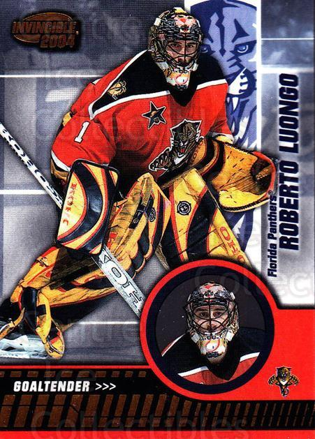 2003-04 Invincible #43 Roberto Luongo<br/>3 In Stock - $1.00 each - <a href=https://centericecollectibles.foxycart.com/cart?name=2003-04%20Invincible%20%2343%20Roberto%20Luongo...&quantity_max=3&price=$1.00&code=445017 class=foxycart> Buy it now! </a>