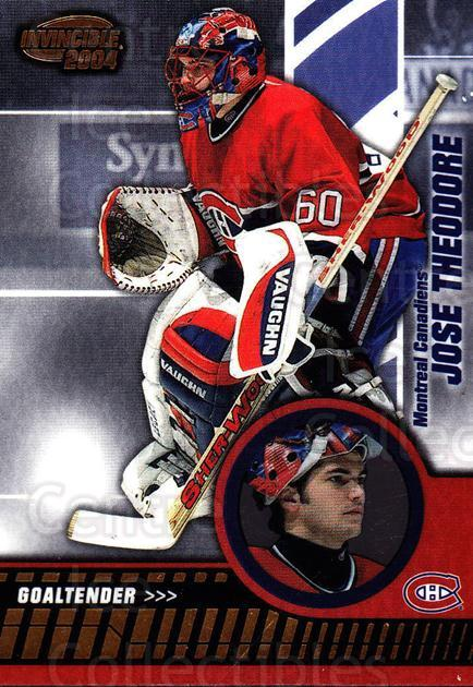 2003-04 Invincible #51 Jose Theodore<br/>2 In Stock - $1.00 each - <a href=https://centericecollectibles.foxycart.com/cart?name=2003-04%20Invincible%20%2351%20Jose%20Theodore...&quantity_max=2&price=$1.00&code=445026 class=foxycart> Buy it now! </a>