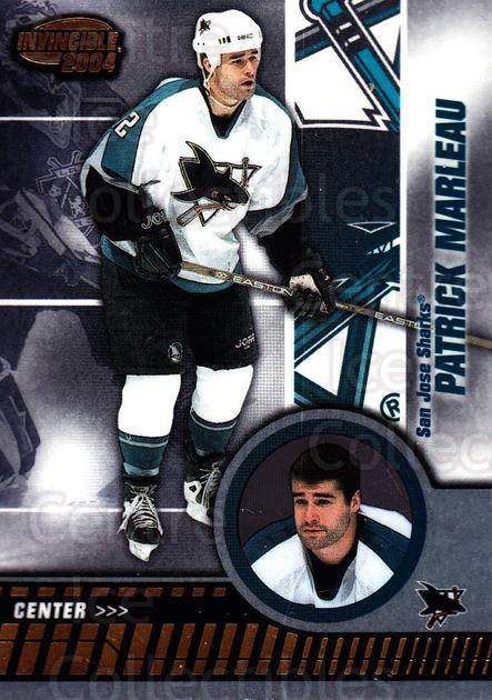2003-04 Invincible #83 Patrick Marleau<br/>9 In Stock - $1.00 each - <a href=https://centericecollectibles.foxycart.com/cart?name=2003-04%20Invincible%20%2383%20Patrick%20Marleau...&quantity_max=9&price=$1.00&code=445049 class=foxycart> Buy it now! </a>