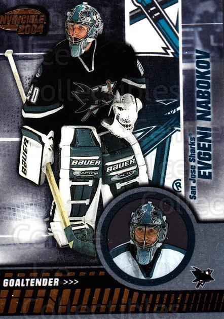 2003-04 Invincible #84 Evgeni Nabokov<br/>3 In Stock - $1.00 each - <a href=https://centericecollectibles.foxycart.com/cart?name=2003-04%20Invincible%20%2384%20Evgeni%20Nabokov...&quantity_max=3&price=$1.00&code=445050 class=foxycart> Buy it now! </a>