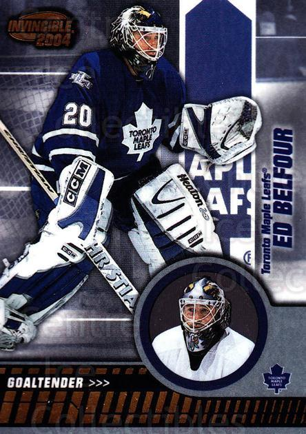 2003-04 Invincible #89 Ed Belfour<br/>2 In Stock - $1.00 each - <a href=https://centericecollectibles.foxycart.com/cart?name=2003-04%20Invincible%20%2389%20Ed%20Belfour...&quantity_max=2&price=$1.00&code=445055 class=foxycart> Buy it now! </a>