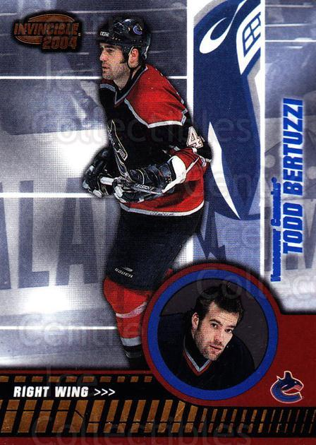 2003-04 Invincible #93 Todd Bertuzzi<br/>4 In Stock - $1.00 each - <a href=https://centericecollectibles.foxycart.com/cart?name=2003-04%20Invincible%20%2393%20Todd%20Bertuzzi...&quantity_max=4&price=$1.00&code=445060 class=foxycart> Buy it now! </a>